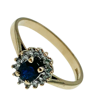 9ct Yellow Gold Cluster Ring With Blue Sapphire & Diamonds