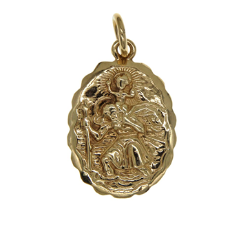 9ct Double Sided Oval St Christopher Pendant