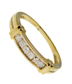 9ct Yellow Gold Eternity Band with Late Coloured CZ