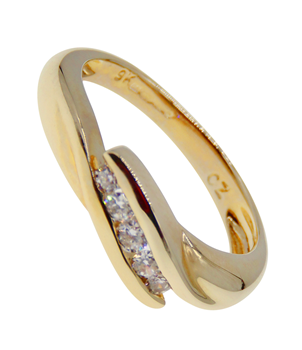 9ct Yellow Gold CZ Crossover Ring
