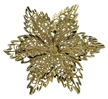 9ct Yellow Gold Flower Brooch