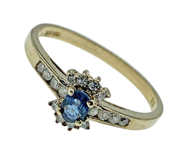 9ct Yellow Gold Gem Set Ring With Blue Centre Stone