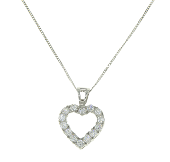 9ct Heart Shaped Pendant and Necklace