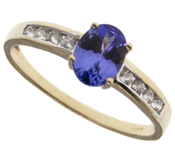 9ct Yellow Gold Blue CZ Solitaire Ring