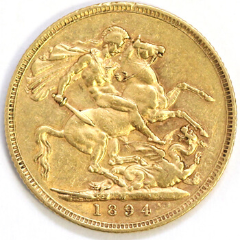 Gold Sovereign -  Veil Victoria - 1894