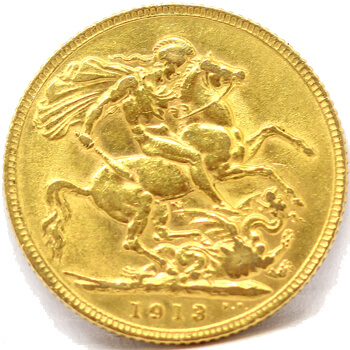 Gold Full Sovereign - King George - 1913