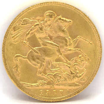 Gold Full Sovereign - King George - 1927