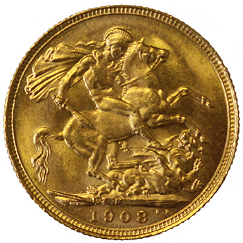 Gold Sovereign - King Edward - 1908