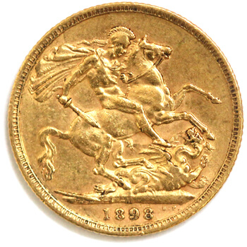 Gold Sovereign -  Veil Victoria - 1898